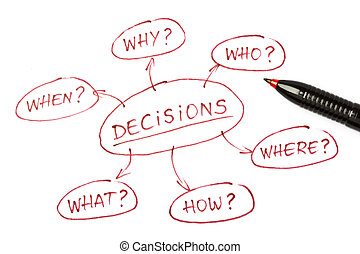 Top view of a Decisions chart with red pen on paper.