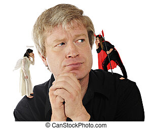 Decisions! Decisions! - A mid-age man contemplating a...
