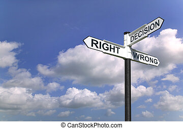 Decisions sign in the sky - Concept image of a signpost with...