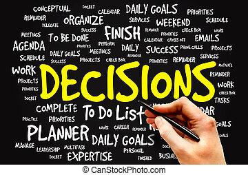DECISIONS word cloud, business concept