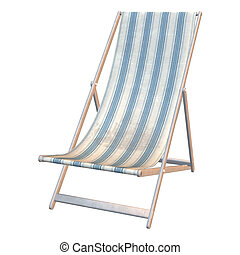Deck Chair - 3D digital render of a deck chair isolated on...