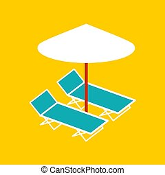 Deck chair and umbrella isolated. Vector illustration.