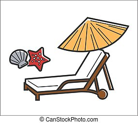 Deck chair and umbrella - Vector illustration of lounge and...