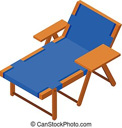 Deck chair icon, isometric style
