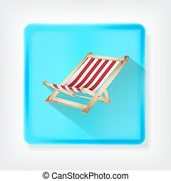 Deck chair. Icon with long shadow. EPS10 vector