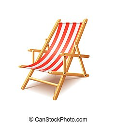 Deck chair isolated on white vector - Deck chair isolated on...