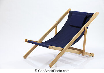 Deck chair made of wooden frame and sky blue canvas