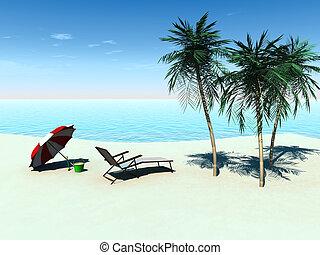 Deck chair on a tropical beach. - A deck chair, sun parasol...