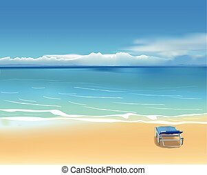 Deck chair on the beach - Blue deck chair on the beautiful...