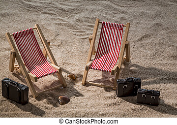 deck chair on the sandy beach - kkleine deck chairs on the...
