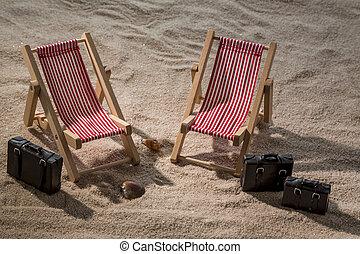 deck chair on the sandy beach - kmline sun loungers on the...