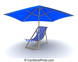 deck chair - 3d rendered illustration lof a chair under a...