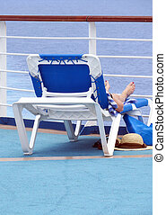 Deck chair - The back of a deck chair facing the ocean...