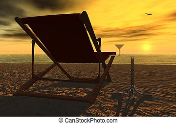 Deck chair - 3d rendered image. The deck chair is empty, the...