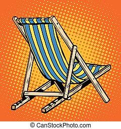 deck chair striped blue beach lounger pop art retro vector....