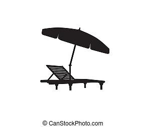 Deck chair umbrella summer beach holiday symbol icon.