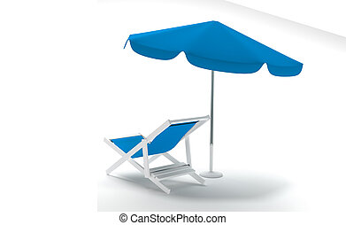 Deck chair with Umbrella on white background