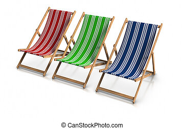 Deck Chairs - 3d rendered RGB deck chairs,