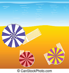 deck chairs and umbrellas on the beach