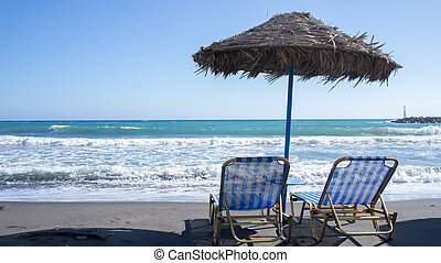 Deck chairs at a relaxing beach