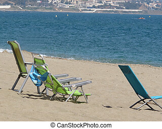 Deck chairs at La Cala de Mijas