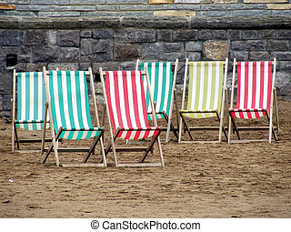 Deck Chairs - Deck chairs at Weston Super Mare