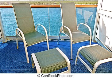 Deck chairs - Deck chairs on a cruise ship balcony...