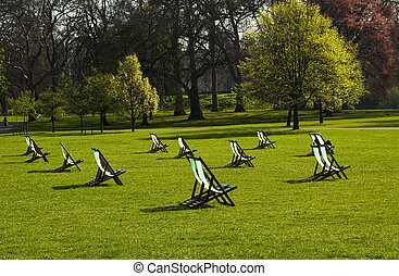 Deck chairs in a park - Deck chairs in an English park in...