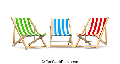 Deck chairs. Isolated on white