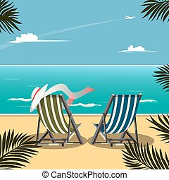 Deck chairs on the beach vector illustration