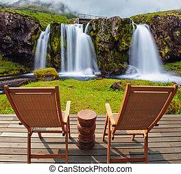 Deck chairs on wooden platform