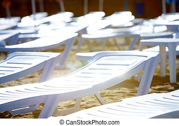 Deck chairs - Photo of deck-chairs on seashore or beach