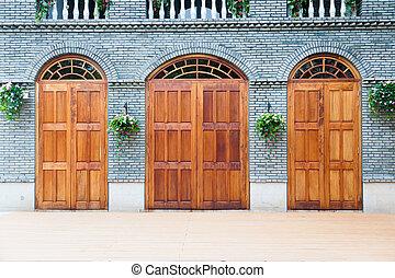 deck., chinois, maison bois, traditionnel, portes, voûte