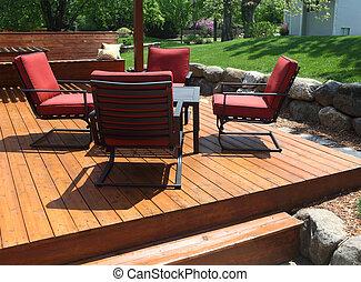 Backyard deck design.
