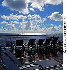 Deck lounge chairs - Lounge chairs on a cruise ship deck...