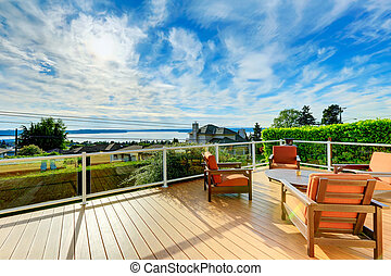 deck, mit, patio tisch, satz