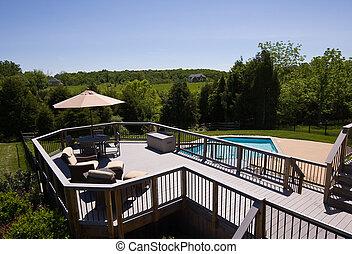 deck, modern, teich, schwimmender