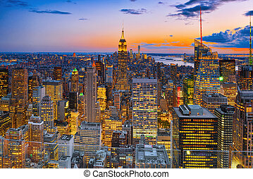 deck., observación, skyscraper's, noche, york., nuevo,...
