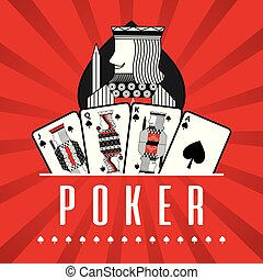 deck of card casino poker king spade red rays background