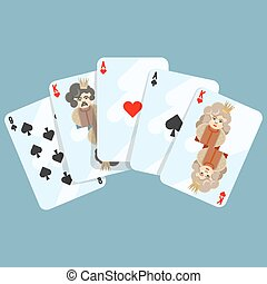 Deck of cards composition on blue on vector illustration