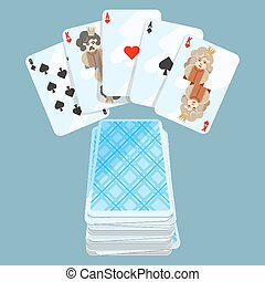 Deck of different cards collection on vector illustration