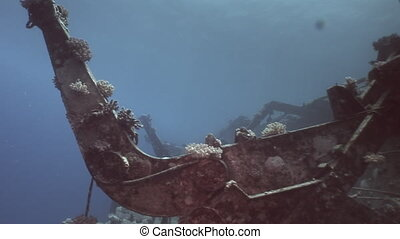 Deck of Salem Express shipwreckss underwater in the Red Sea...