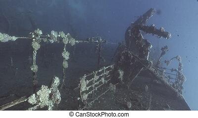 Deck of sunken ship Salem Express shipwrecks underwater on...