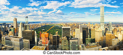 deck., pozorování, skyscraper's, york., čerstvý, manhattan, ...
