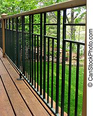 Deck railing - A long perspective of a deck railing.