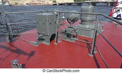 Deck Russian combat naval ship. Shot in 4K (ultra-high...
