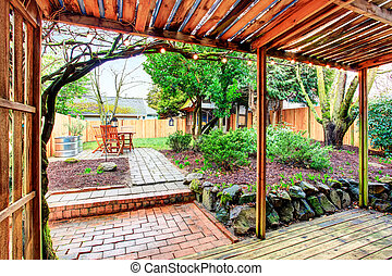 deck., yard, secteur, dos, walkout, landscaping, couvert, desing., patio