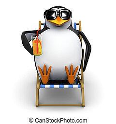 deckchair, 3d, pingüino