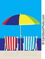 Deckchair Beach - beach deckchairs parasol sky sea