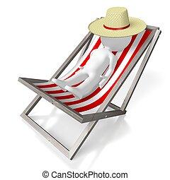 deckchair, concepto, sol, 3d